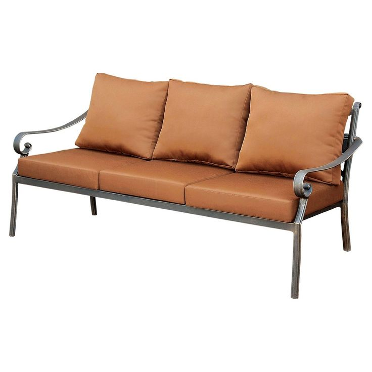 Loran Modern Aluminum Sofa with Plush Brown Cushions - Distressed Black - Furniture of America
