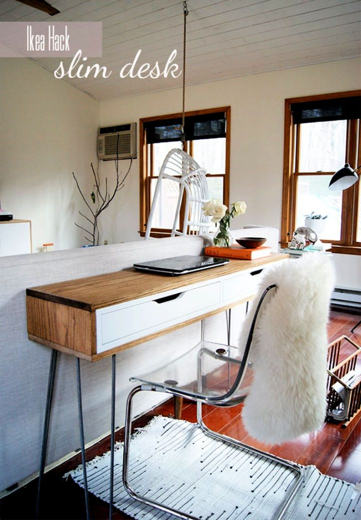 25 Ikea Desk Hacks To Build Your Own Desk In 2020 Ikea Desk Hack Ikea Furniture Hacks Slim Desks