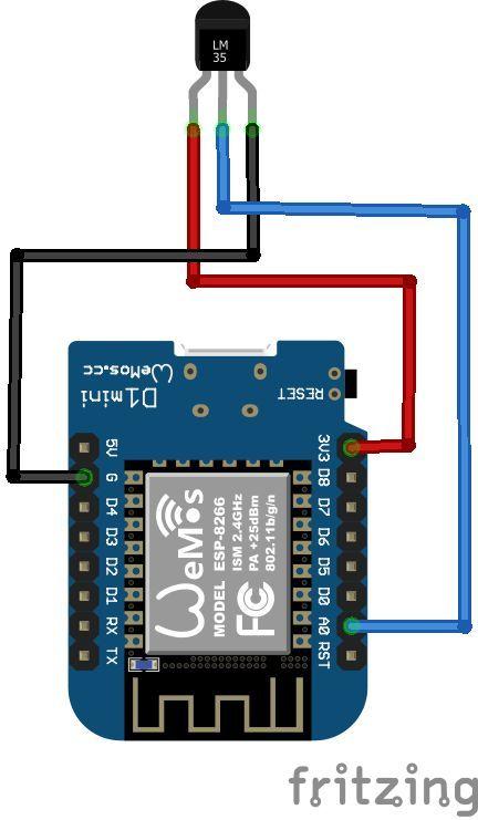 Wemos and LM35 temperature sensor #wemos #esp8266 | Electronics