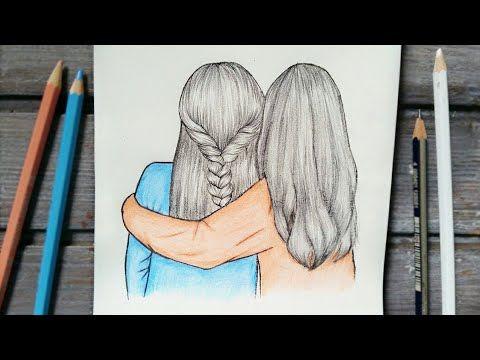 رسم افضل صديقات خطوة بخطوة Best Friends رسم بنات تسريحات شعر من الخلف رسم سهل Youtube Female Sketch Art Male Sketch