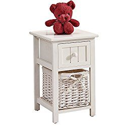 OSPI Drawer Shabby Chic White Color Wooden Bedside Cabinets / Units / Bedside tables with wicker Storage Basket (1 Bedside Cabinet)