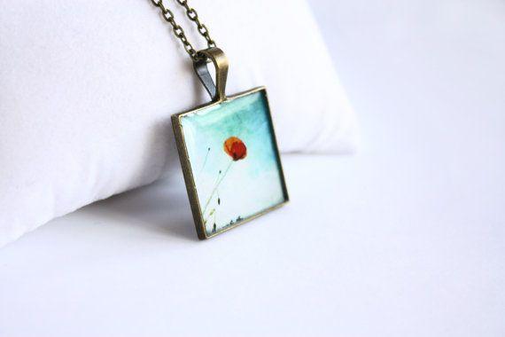 Poppy pendant necklace Square Pendant flowers necklace blue Bronze jewelry