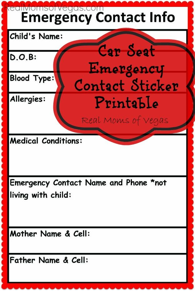 Car Seat Emergency Information Stickers