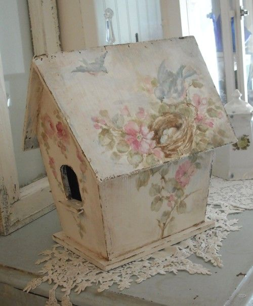 Shabby Vintage Style Large Birdhouse with Bluebirds and Roses
