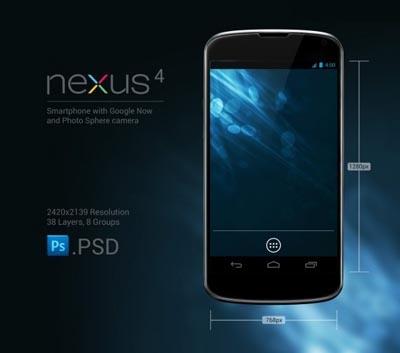 Google Nexus 4 mockup free #psd