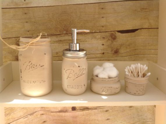 Mason Jar Bathroom Set. Painted Mason Ball Jars.  Mason Jar Soap.Mason Soap Dispenser. Rustic Decor. French Country Decor. Farm House Decor. on Etsy, $34.00