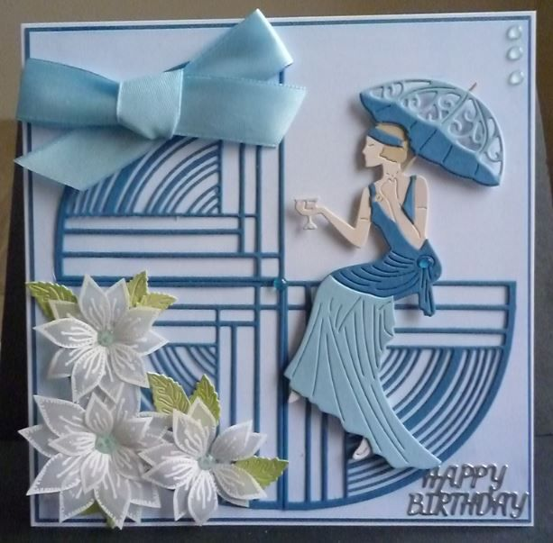 Card made using a combination of new and older Art Deco dies