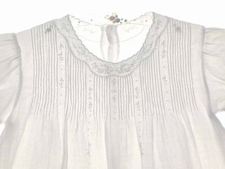 "Heirloom 1930s Beautifully Embroidered White Batiste Baby Dress with Pintucks.  Shoulder width=8¼""  Back length=14½"""