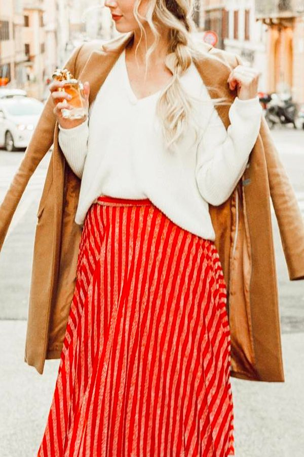 Lovely Red skirt with camel coat and white sweater. Fashion Outfit for a Trip to Rome, Italy. Fashion Blogger, Street Style. Sheridan Gregory. #fashionblogger #skirt #camelcoat