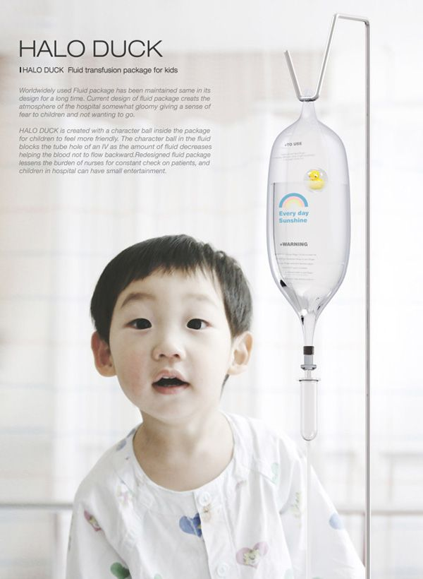 Halo Duck by Jung Hyun Min is an example of industrial design that provides function and happiness. The small rubber duck incased in a clear ball is meant to provide a bit of color and curiosity in boring children's hospital rooms. It is works to prevent back flow when the pack is empty, that way the child doesn't see blood their IV tubes and panic. Nurses don't have to be as tentative. Etc.