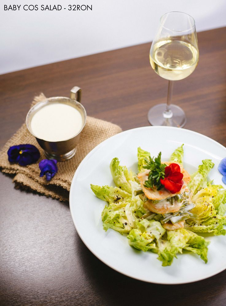 Baby Cos Salad - light grilled chicken breast and baby cos salad  P.S. A nice glass of Chardonnay is the perfect match