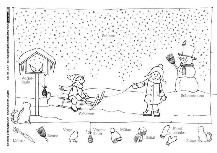 winter schlitten schneemann  deutsch lernen spiele