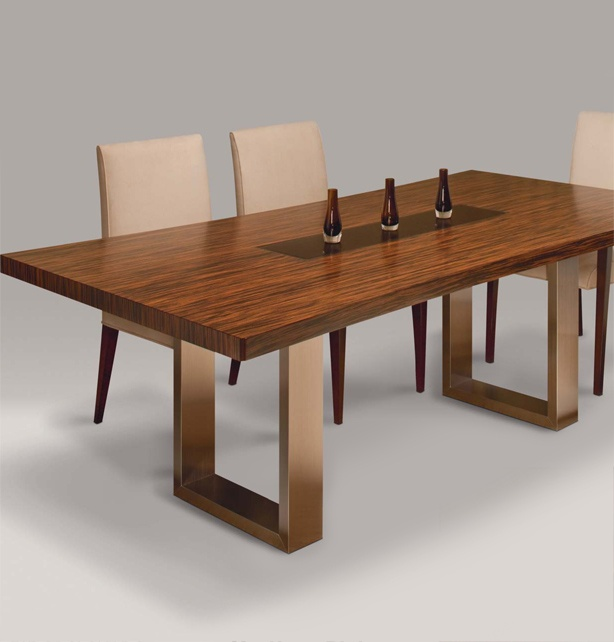CRTV Mystique Dining Collection  Woods and Finishes:       Table tops:  Rift Cut Oak veneer -- 15 finishes    View   or Eco Exotics* -- 4 veneers & 7 finishes   View   or Walnut veneer -- 4 finishes   View   Table top inserts:  are available in any of the Oak, Walnut or Eco Exotic* finishes.