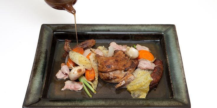 Pascal Aussignac's pot-au-feu recipe is a supreme take on the classic French dish, using the gamey flavour of duck with lots of herbs and vegetables