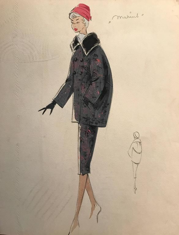 Unknown Superb Stylish Vintage Fashion Design Painting Artist Stamped In 2020 Fashion Design Drawings Fashion Design Artistic Fashion Photography