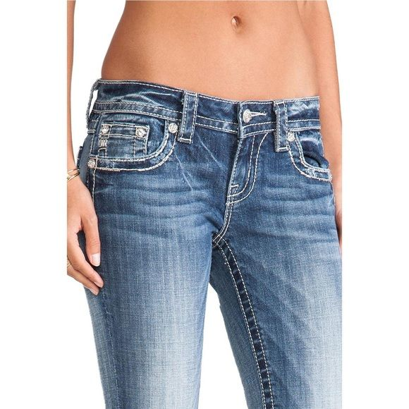 """Miss Me Jeans-29 100% Authentic Miss Me Jeans. 98% Cotton, 2% Elastan (Spandex). Signature Boot Cut with 30"""" inseam. One of the best and more popular jeans ever! The first picture is not the actual jeans I have but is a good representation; the rest of the pictures are actual. Great for a Holiday Gift Surprise Miss Me Jeans Boot Cut"""