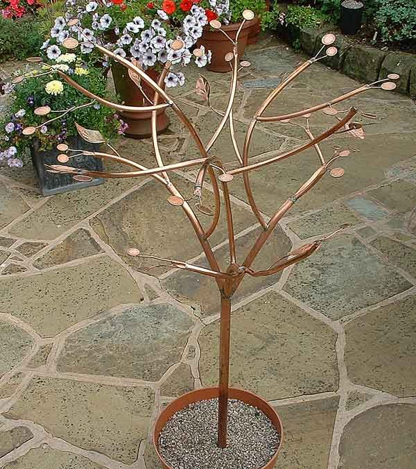 Closer view of a copper tubing tree.