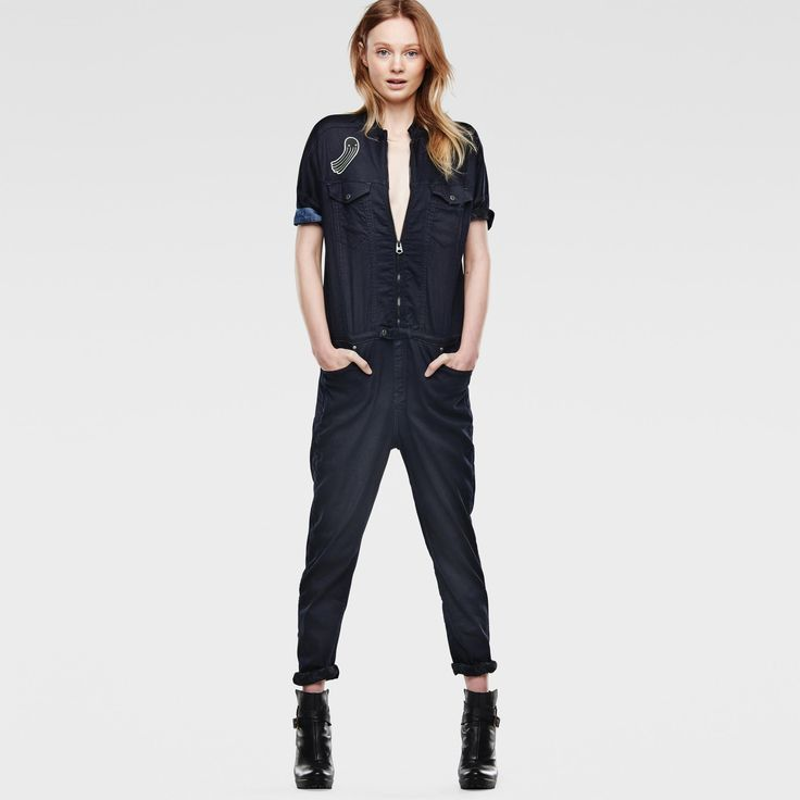 Sister Jane Boiler Suit With Jewel Heart Belt In Denim - Jumpsuit by sister jane, Light-blue wash, Spread collar, Zip fastening, Belted waist with heart embellishment, Functional pockets, Wide-cut legs, Regular fit - true to size.