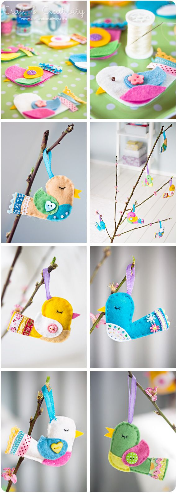 Stuffed felt colorful birds. Choose colors & the lavish details for your birds. Display on a branch/tree, add to napkin rings for easter dinner, make a mobile of them, etc. there are many possibilities.