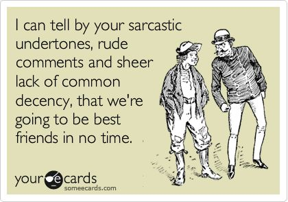 I can tell by your sarcastic undertones, rude comments and sheer lack of common decency, that we're going to be best friends in no time.: Best Friends, E Card, Quote, Giggl, Bff, My Friends, Ecards, No Time, Funnies Stuff