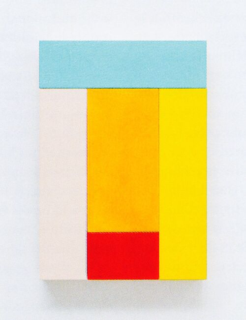 """Imi Knoebel (b 1940) is a German artist. Knoebel is known for his minimalist, abstract painting and sculpture. The """"Messerschnitt"""" or """"knife cuts,"""" are a recurring technique he employs, along with his regular use of the primary colors, red, yellow and blue."""