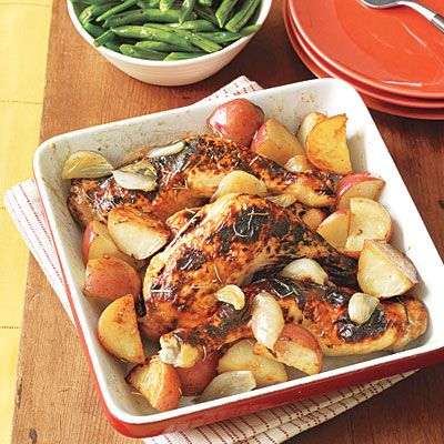 Roasted Chicken with Potatoes and Shallots: Chicken Dinners, Shallot Recipes, Chicken Recipes, Dinner Menu, Potatoes, Roasted Chicken, Families Dinners, Green Peppers, Dinners Menus