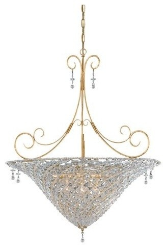 Crystorama signature 10 light chandelier in burnished gold clear crystal hand cut