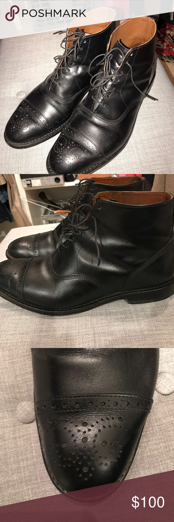 Allen Edmonds Fifth Street Dress Shoes Size 8.5 E Stand out in these unique high top dress shoes from Allen Edmonds. Great condition black leather. Wax coated sole provides weather protection. Allen Edmonds Shoes Oxfords & Derbys