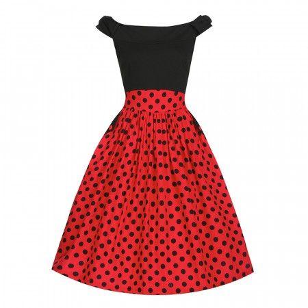 Carla- rød og svart svingskjole
