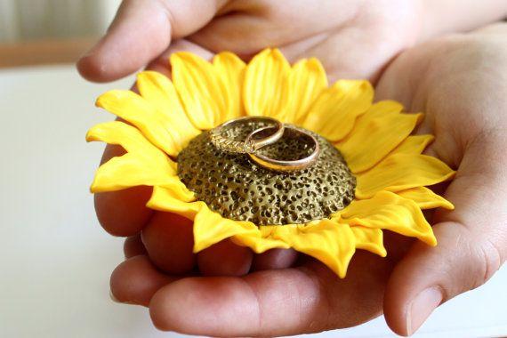 Yellow Sunflower ring Dish holder Ring bearer by NikushJewelryArt