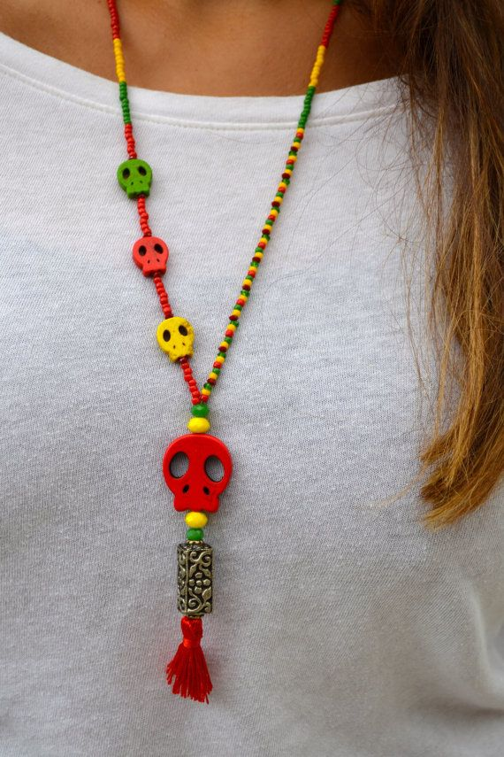 Rasta Four Skull Long Beaded Necklace with by uniquebeadingbyme
