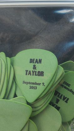 Music theme wedding favors. Guitar picks with our names and date. Ordered online…