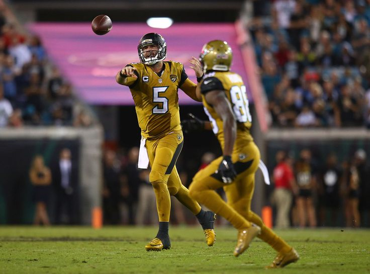 Blake Bortles #5 throws to Allen Hurns #88 of the Jacksonville Jaguars during the second half of the game against the Tennessee Titans at EverBank Field on November 19, 2015 in Jacksonville, Florida. (Nov. 19, 2015 - Source: Rob Foldy/Getty Images North America)