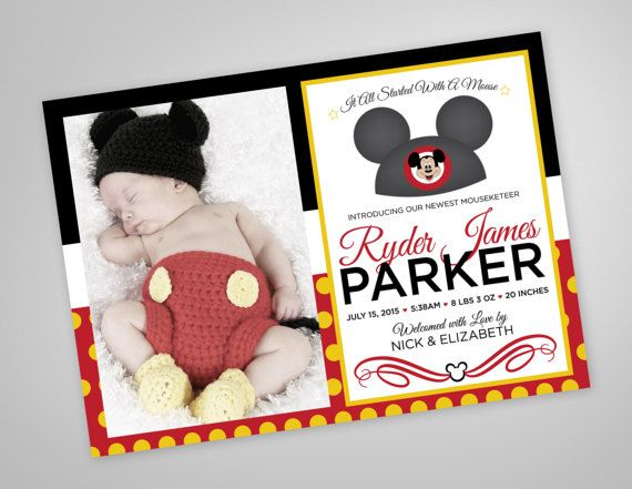 Classic Mickey Mouse Birth Announcement by GracieMockDesign