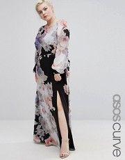 ASOS CURVE - Vestito lungo scuro a fiori con maniche lunghe