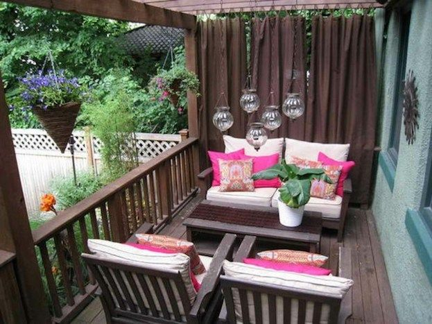 Curtained Wood Porch