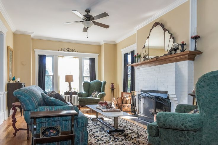 Warm up in this cozy living room with wood burning fireplace.