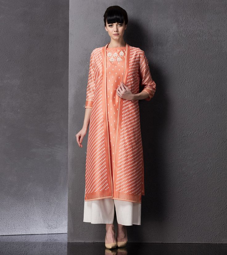 Peach Printed Chanderi Jacket With Palazzos