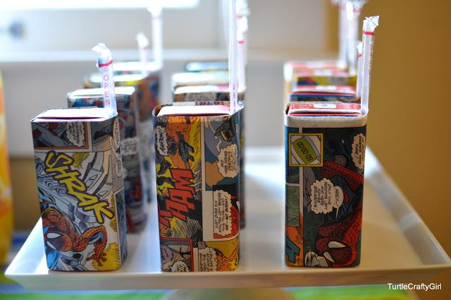 Cool party idea--juiceboxes wrapped in comic book panels. From TurtleCraftyGirl: Super Hero Birthday Party