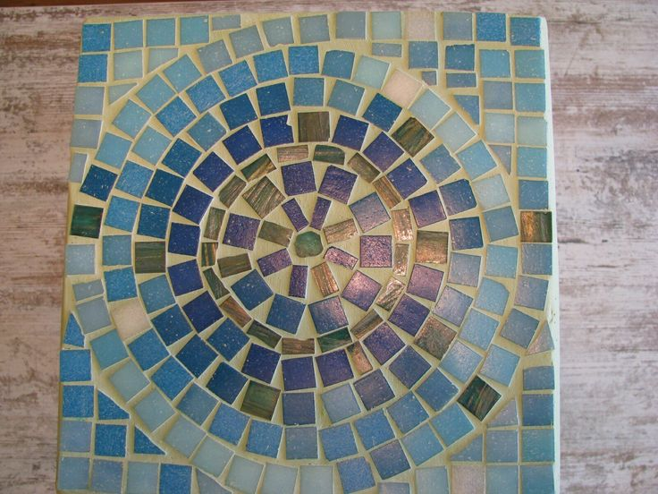 Blue chair: glass mosaic & paint by Rely
