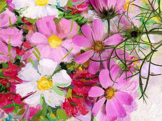 original oil painting 12x12 Cosmos Flowers artwork still life