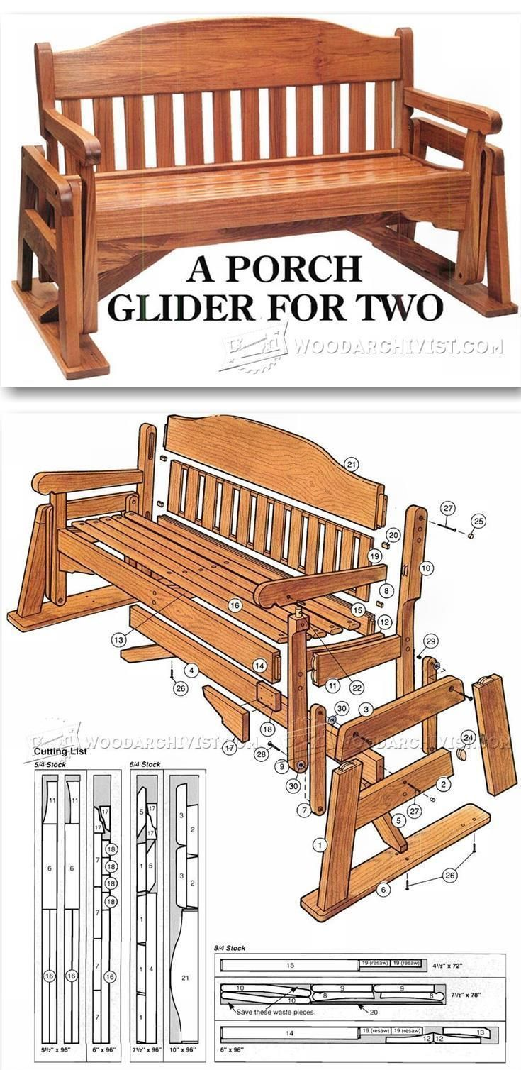Porch Glider Plans - Outdoor Furniture Plans & Projects | WoodArchivist.com #WoodworkingPlans