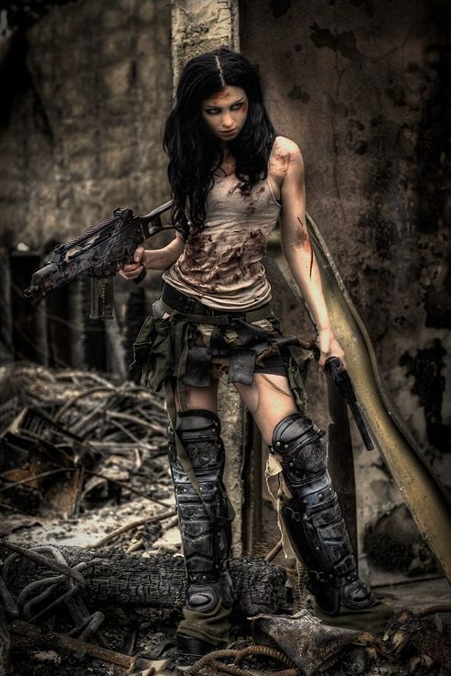 Apocalypse Girl - so cool. I think those are hockey pads on her legs, lol