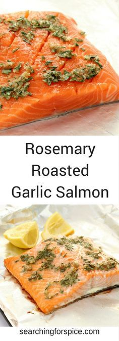 Recipe for Rosemary Roasted Garlic Salmon. This healthy roasted salmon is perfect as an easy family meal but just a good for a dinner party. It's also lovely served cold so makes great leftovers or a great buffet recipe. #salmon #roastedgarlic #rosemary #dinnerparty #recipe