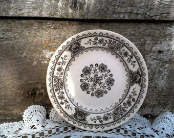 """Brown Side Plate, USA, Appetzer, Bread and Butter, 6 1/2"""" in diameter, Brown Transferware, Ironstone, Plate, Transferware"""