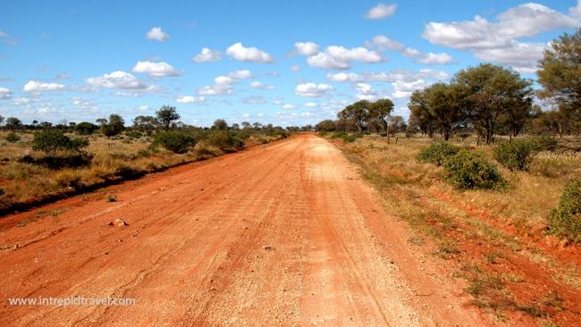 Driving through the Gibson Desert, Australia. Photo by