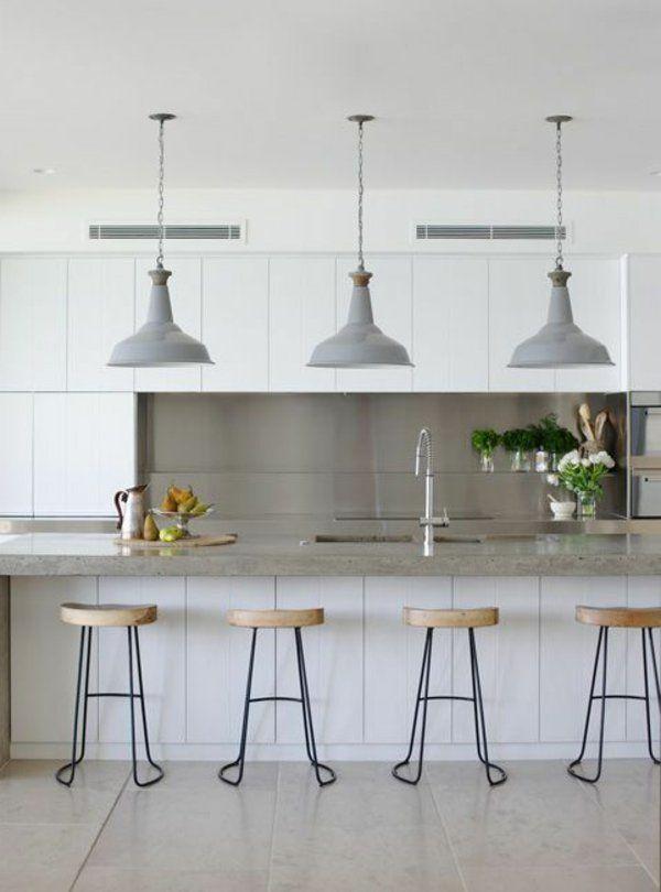 Küche Einrichten Ideen Hängelampen Kücheninsel