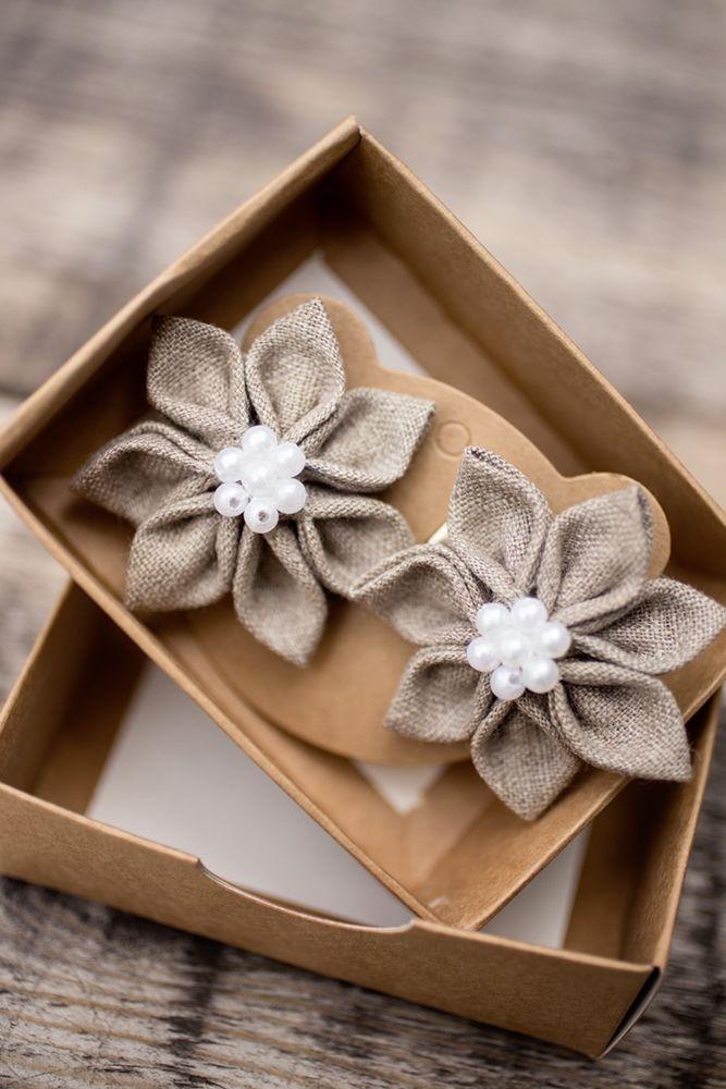Linen hair clips for flower girls - kanzashi hair clips