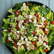 salad with chicken, avocado & tomato with honey lime cilantro vinaigrette | Cooking Classy