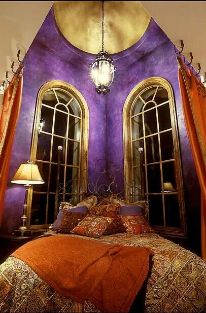 Metallic gold royal purple and burnt orange this is a gorgeous room with a great color palette Royal purple master bedroom
